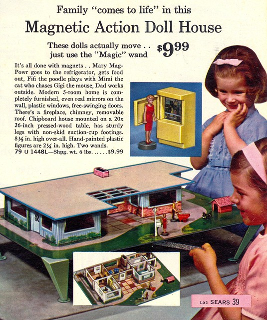 Mid Century Modern Ranch Dollhouse Magnetic Doll House
