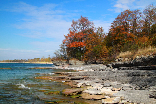 thanksgiving blue sky lake ontario canada fall beach water canon landscape eos rocks waves bluesky lakeontario sandbanks canadianthanksgiving fallcolours 50d