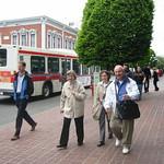 Grandma, mom, and grandpa walking in Victoria