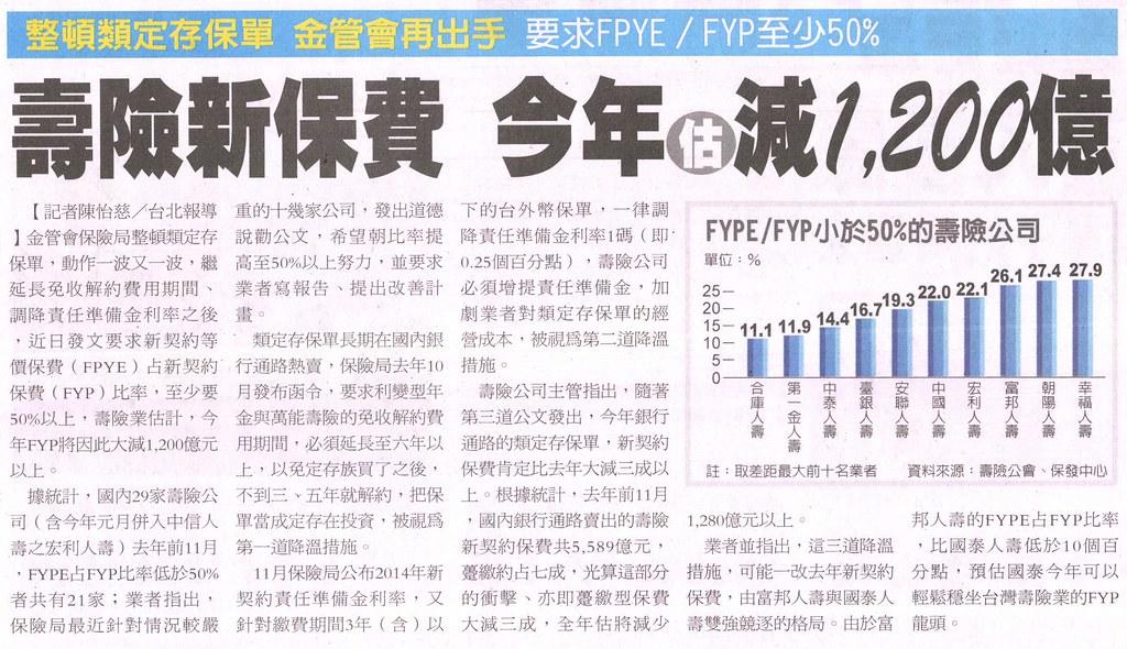 20140108[經濟日報]壽險新保費 今年估減1,200億--整頓類定存保單 金管會再出手 要求FPYE╱FYP至少50%