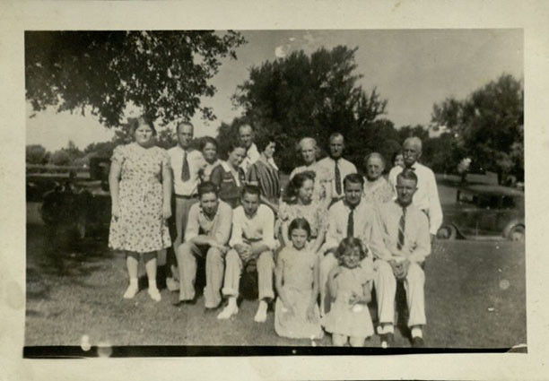 Samuel Pascal Wright family, 1930s (see Ford Model A in the background)