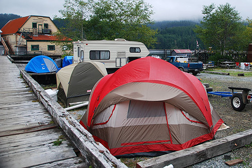 Tents for fishermen at the Winter Harbour Dock, Winter Harbour, Quatsino Sound, Vancouver Island, British Columbia, Canada