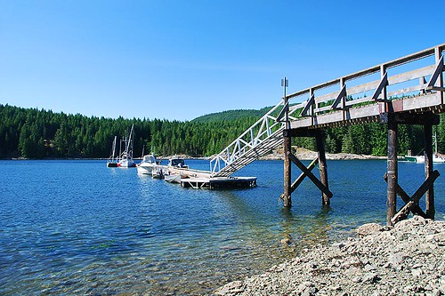 Granite Bay Public Dock on Quadra Island in the Discovery Islands provides access to Small Inlet Marine Park, British Columbia