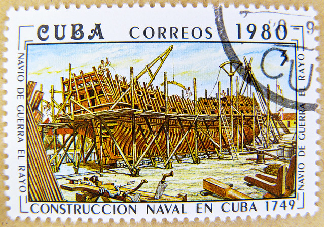 "wonderful stamp Cuba 3c (cuban history of shipbuilding, liner ""El Rayo"", 1749)"