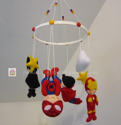 ♥♥♥ Mobile super heróis... Porque os meninos adoram! by sweetfelt \ ideias em feltro