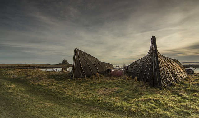Turned over fishing boats at holy island.