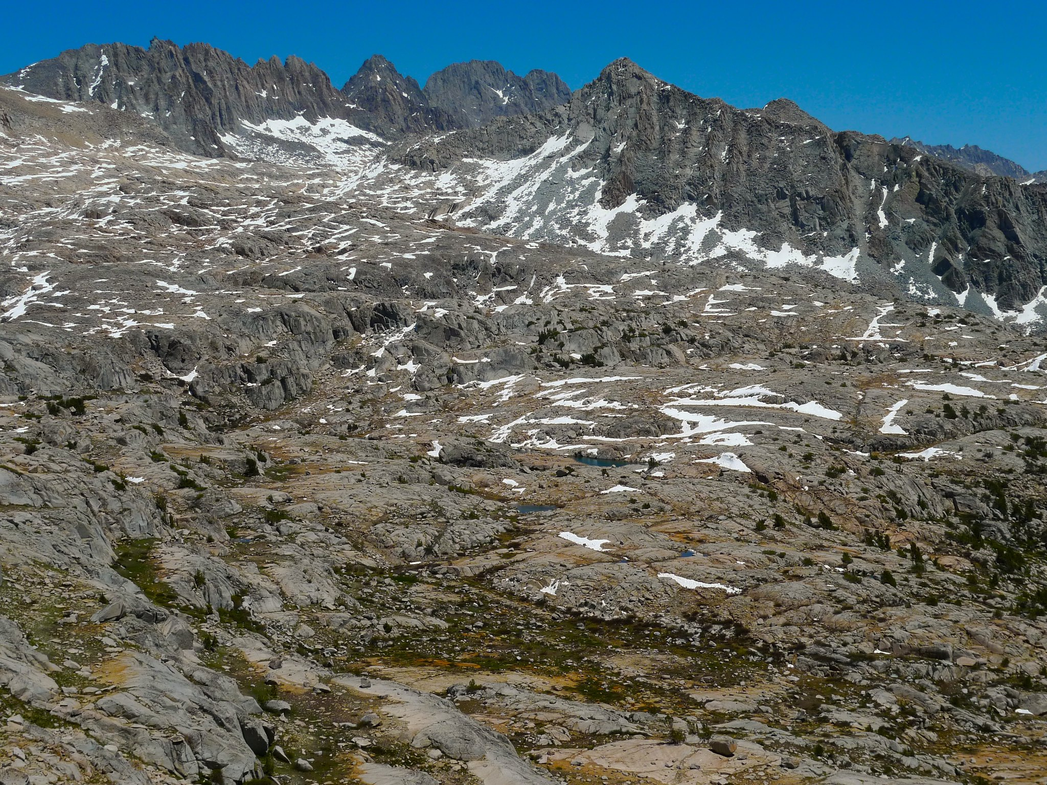 Barrett Lakes and Palisades from Knapsack Pass