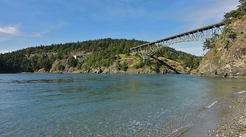 View of Deception Pass bridge from the beach.