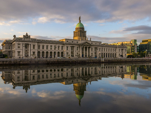 sky reflection water reflections river evening tags liffey thecustomhouse