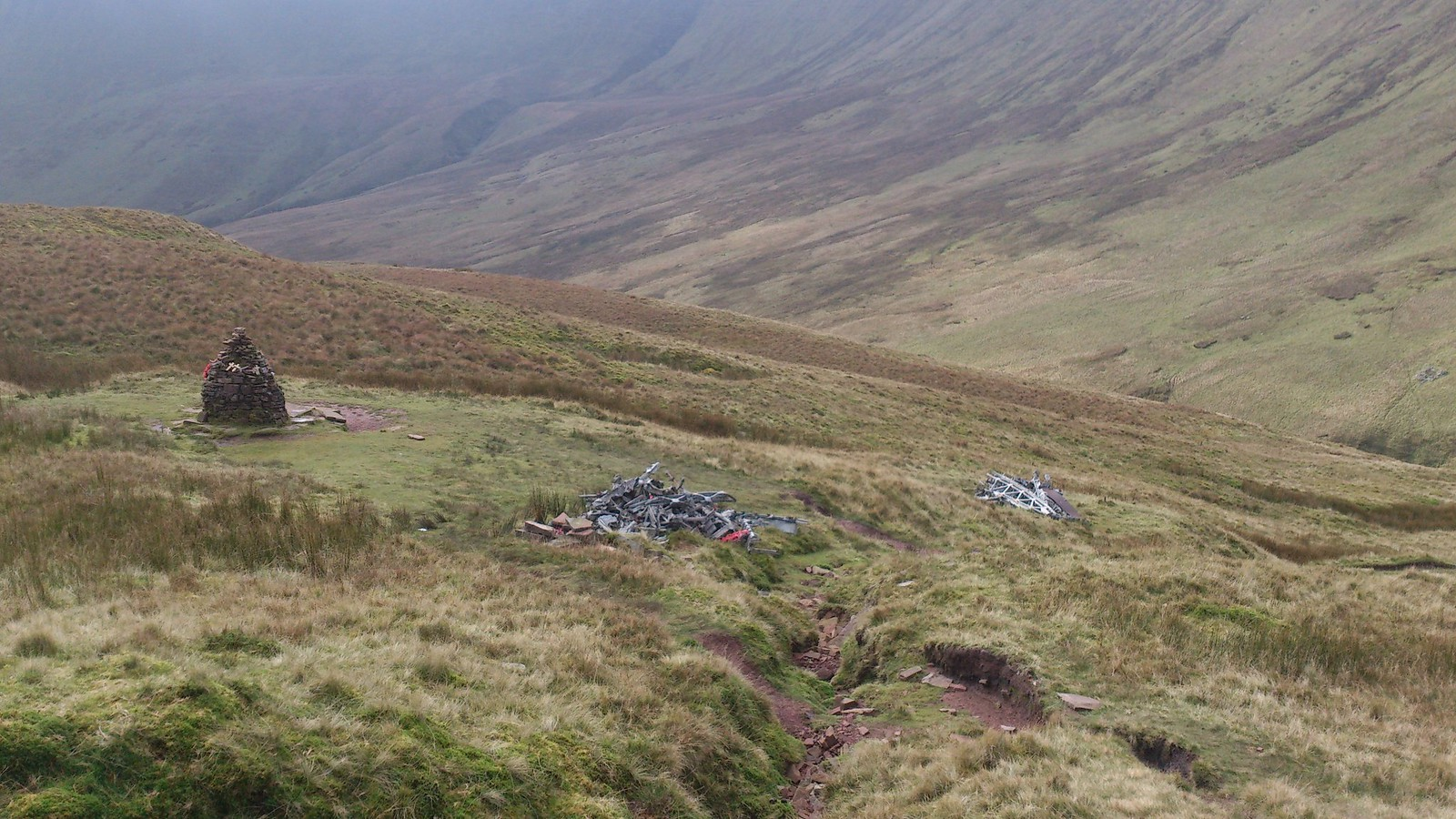 WWII Memorial for five Canadian Aircrew, by the Cwar y Gigfran, with two heaps of aircraft debris SWC Walk 278 Breacon Beacons Horseshoe - Bannau Brycheiniog (Extension to Waun Rydd)