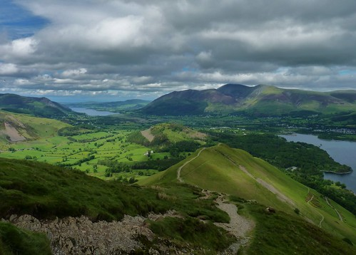 View over Derwent Water, Keswick and Bassenthwaite Lake in the background, from Cat Bells