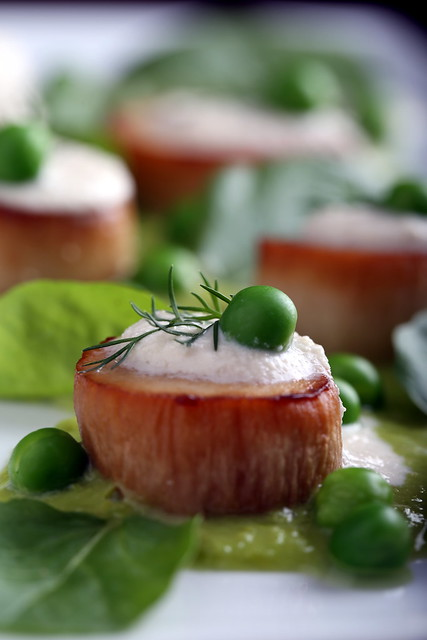 Vegan Scallops with Pea Puree and Watercress
