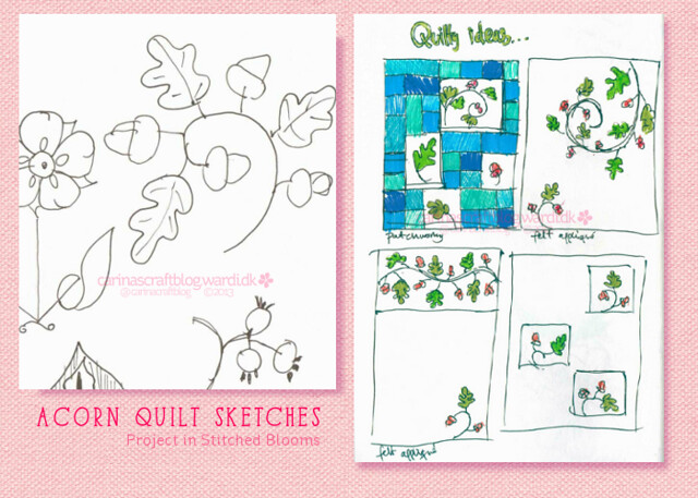 Acorn and leaves quilt - sketches