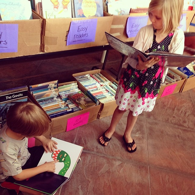 Just so happens to be book sale weekend at Central library--TONS of kids books for .10 .25 and .50 cents each (we came home with two boxes full)! @mysapl #bookworm