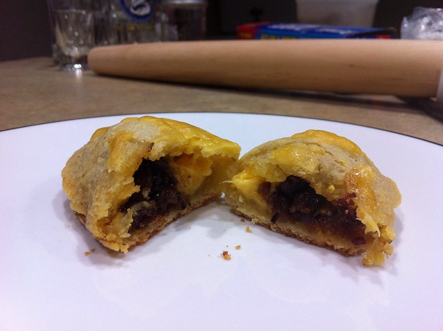 Bacon jam empanadas with cornmeal crust!