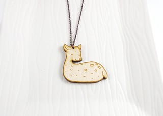 Sleeping Woodland Deer Wood Charm Necklace