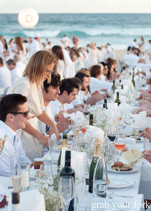 Champagne, food and wine at Diner en Blanc Sydney 2013 Bondi Beach