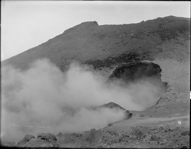 Steaming crater on Lassen Peak summit