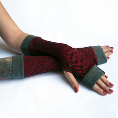 Winter Red Arm Warmers,Fingerless Gloves with grey edges - Very Soft Red Gloves , Hand Warmers , Cuffs , Victoriian , Goth , Cotton