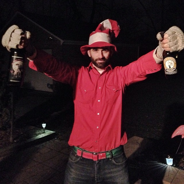 The great Tyler Ronald, taking Christmas Eve by the horns with his new ntandy holiday pant hoister and a couple bottles of City Steam beer. A match made in heaven enjoyed here on earth. #respect #ntandy #dreamweaving #boundforglory