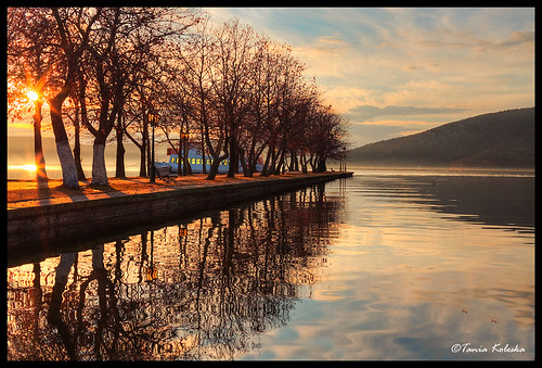 winter sunset sea summer sun lake color colors beautiful clouds canon landscape boat colorful europe ship background greece macedonia romantic hdr 6d canonef50mmf14usm kastoria colorsky hdrphotography romanticimage romanticphotography canoneos6d taniakoleska romantichour