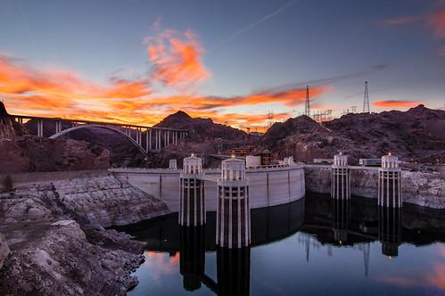 bridge sunset arizona reflection water clouds lasvegas nevada rocky reservoir hydro hooverdam lakemead coloradoriver bypass greatphotographers