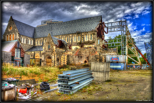 In Cathedral Square, Christchurch - damaged and un...
