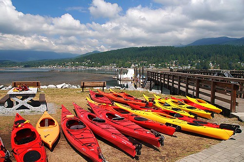 Kayaks in Rocky Point Park, Port Moody, Greater Vancouver, British Columbia