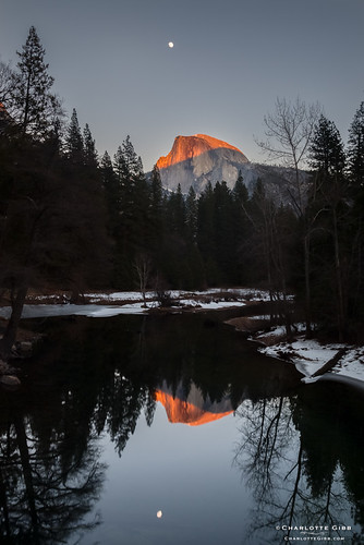 Moon and Sunset on Half Dome, January 2014