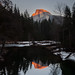 Moon and Sunset on Half Dome, January 2014 by Charlotte Hamilton Gibb