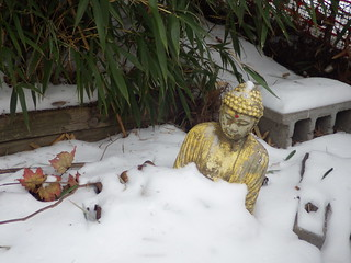 "Midwood buddha says ""Let it snow""."
