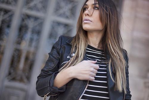 street style monochrome stripes dress 08