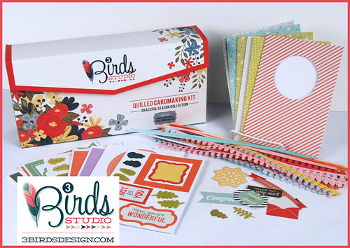 supplies included in the 3 Birds Studio card making kit