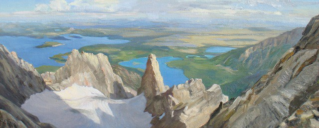 This is the view from the CMC Route on Moran, high above Falling Ice Glacier, which is guarded by the East and West Horns. This is a 14 x 36 in. study done in the studio from photos and a pastel  done on location. I liked the directional slant of the right foreground rocks which lead the eye into the background. But I put grass in to get some more color, scale and texture…