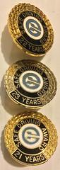 EDMONTON TRANSIT MEMORABILIA ---SAFE DRIVING AWARDS SCREWBACK PINS, 21, 22 and 23 YEARS SAFE DRIVING, late 1970'S