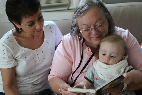 Auntie Debbie, Nana, and Martin Reading Bedtime Story