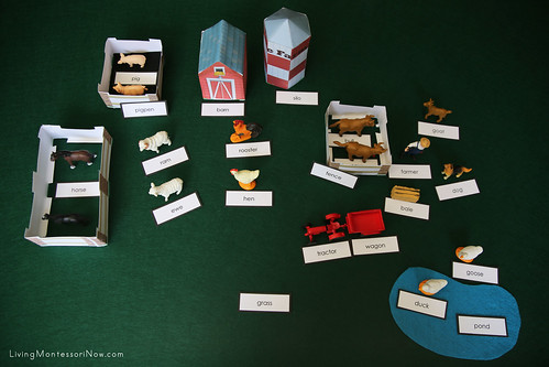 DIY Montessori Grammar Farm Showing Noun Labels