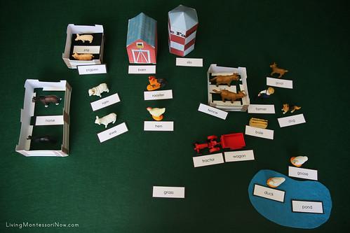 DIY Montessori Grammar Farm Showing Noun Labels