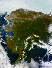 Rare Clear View of Alaska [high res]. By: NASA Goddard Space Flight Center
