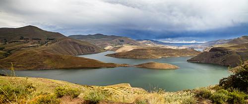 sky mountains water landscape dam lesotho katsedam