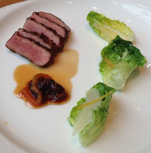 Charcoal-Grilled Colorado Lamb Saddle. Dried Fruit Preserves & Organic Hearts of Lettuce complete with Preserved Lemon & Shaved Parmigiano Reggiano.