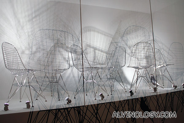 Eames' iconic wire mesh chair