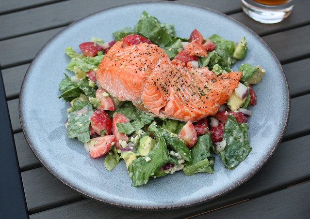 Strawberry & Avocado Salad with Salmon