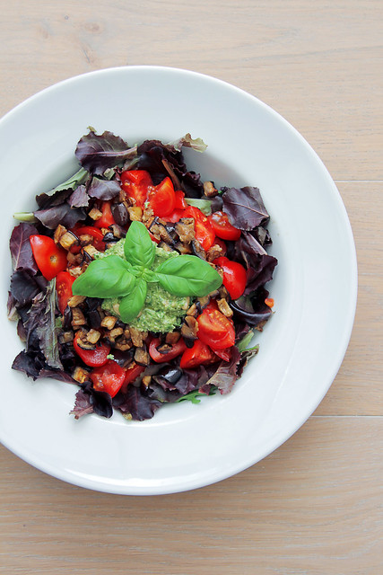 roasted aubergine, tomatoes, red lettuce