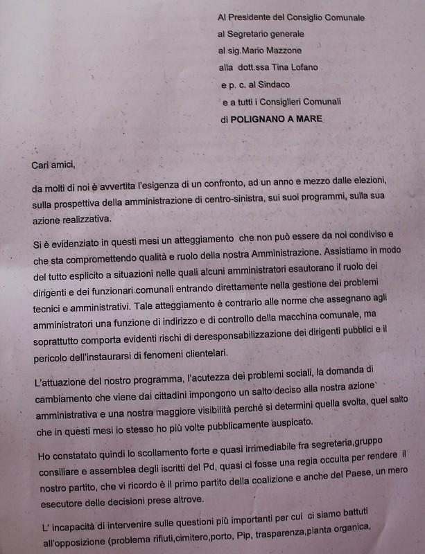lettera dimissioni focarelli polignano 1