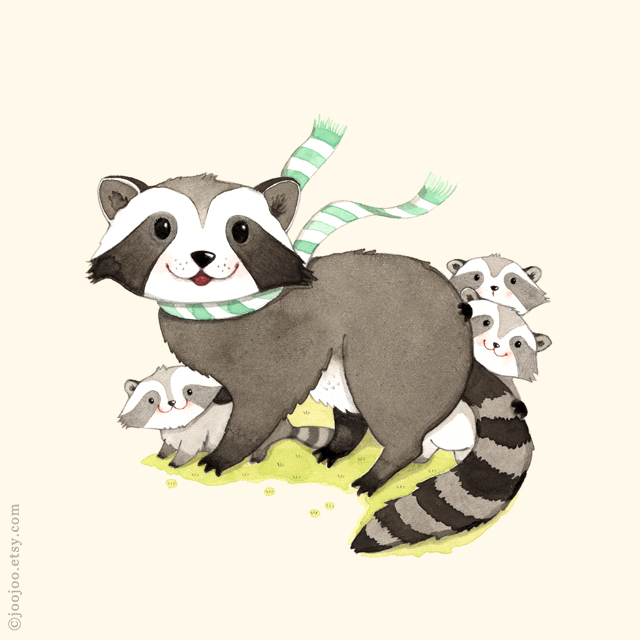 A raccoon family