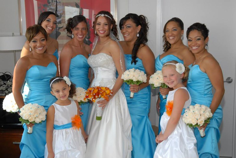 turquoise and orange wedding party