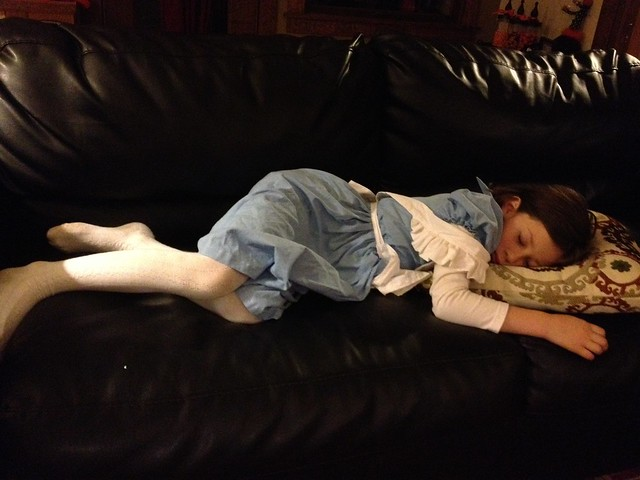 Alice in Wonderland after a long night if Halloween fun.