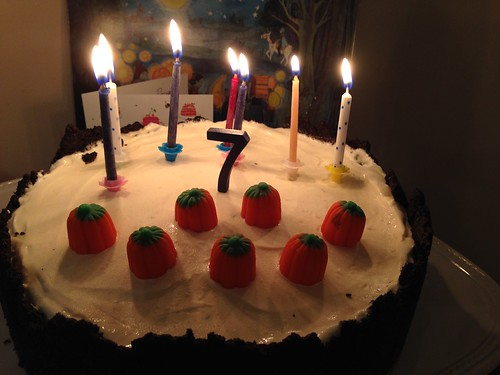 7 candles and little pumpkins