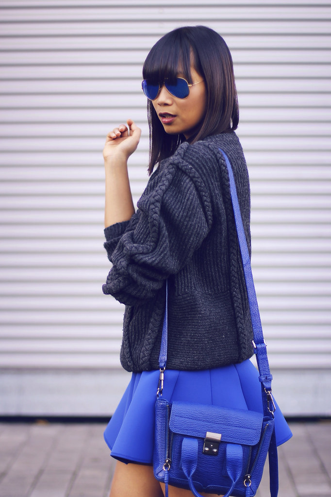 and-other-stories-neoprene-skirt-3.1 phillip lim-mini pashli-rayban mirrored-aviators-stine goya-braid sweater
